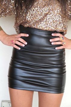 sequins/leather