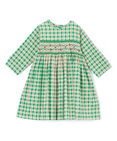 Love this Green & White Smocked Dress - Infant & Toddler on #zulily! #zulilyfinds