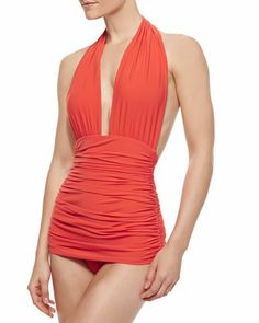 Bill Halter-Neck One-Piece Swimsuit by Norma Kamali at Bergdorf Goodman.