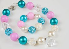 Pastel Chunky Necklace and Bracelet Set Chunky by baileysblossoms, $9.50 or DIY for party favor?
