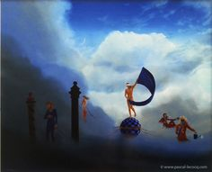 "COMPAGNONS DE FORTUNE - Fellowcrafts of Fortune - oil on canvas by Pascal Lecocq The Painter of Blue  24""x29"" 60x73cm lec478 1995 available  pascal lecocq #venice #venezia #doganadamar #fellowcraft #exaltation #mosaic #357#weathercock#allegory #fourseasons #art #blue #painterofblue #painting #painter #artist #contemporaryartcurator #artstack #artcartridge #artcollectae #glarify #theartdex #in #pint."