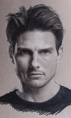 Steps for Portrait Drawing with Charcoal - Drawing On Demand Realistic Sketch, Realistic Pencil Drawings, Pencil Art Drawings, Art Drawings Sketches, Easy Sketches, Horse Drawings, Drawing Art, Drawing Ideas, Tom Cruise Hair