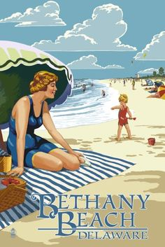 Bethany Beach, Delaware - Woman on Beach - Lantern Press Artwork (24x36 Gallery Quality Metal Art), Multi