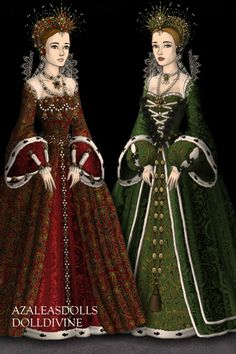 The Two Queens ~ by LunaLaura ~ created using the Tudors doll maker | DollDivine.com