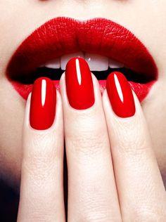 Striking red nails & lips