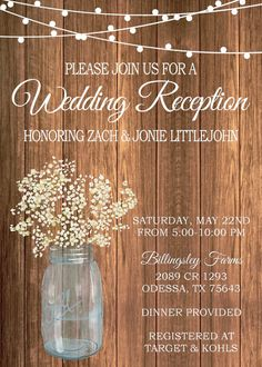Rustic Wedding Reception Invitation On With By GoldenGirlDesignz More