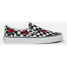 Vans Cherry Checkers Classic Slip-Ons ($35) ❤ liked on Polyvore featuring shoes, sneakers, party shoes, unisex shoes, berry shoes, slip-on sneakers and checkered shoes