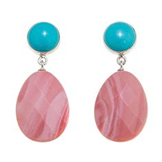 Mine Finds by Jay King Jay King Australian Pink Opal and Turquoise Sterling Silver Earrings