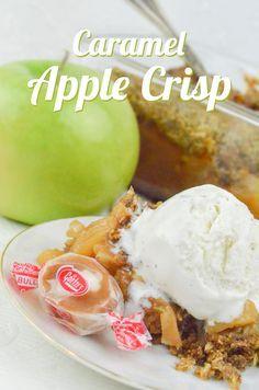 The BEST apple crisp recipe! Caramel Apple Crisp made with Caramel Creams