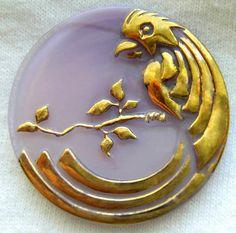 XL Czech Glass Button - Parrot - Lavender Glass Parrot Moonglow Button w/ Shiny Gold Luster