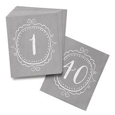 Number your reception tables in vintage style. Grey table number cards are printed in white with a charming crest design and numbers 1-40.