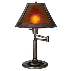 Mission Bronze With Mica Shade Swing Arm Table Lamp