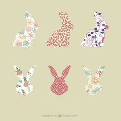 Rabbit silhouettes with patterns