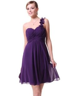 Ever Pretty One Shoulder Flowers Padded Ruffles Short Bridesmaid Dress 03535 | Amazon.com