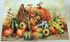 "Autumn's Bounty - Tile Mural 24 tile mural on 6"" tiles at £336 Digitally reproduced for tiles and depicts a colorful cornucopia. Our kitchen tile murals are perfect to use as part of your kitchen splashback tile project. Add interest to your kitchen backsplash wall with a decorative tile mural. If you are remodeling your kitchen or building a new home, install a tile mural above your stove top or install a tile mural above your sink."