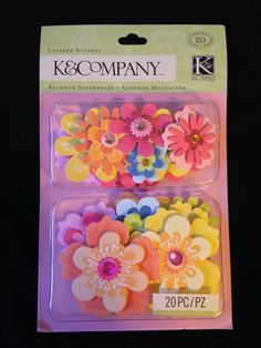 NEW  --  K & Company Brand --  20 pieces  --  Layered Flowers  -- Bright Flower Layered Accents  (#1703) by CynthiasCraftingNook on Etsy