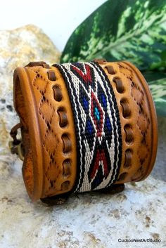 Native American Bracelet Leather Bracelet by CuckooNestArtStudio
