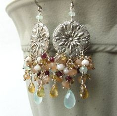 Fine silver and sterling silver earrings, gemstone cluster in peach, pink, sea foam green by Noria Jewelry