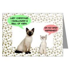 Funny cat Christmas cards for cat lovers and people who knit.  Available singly, or in packs of 10 or 20. #cats #Christmas #cards