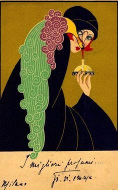 Gorgeous c.1925 Italian Perfume Advertising Postcard. Art Deco