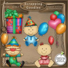 Birthday Babies 1 - Whimsy Primsy Country Clip Art
