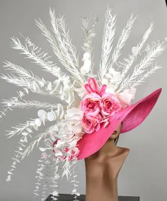 Huge Over Size Hot Pink Church Wedding Hat Head Piece Kentucky Derby Hat Satin Bridal Coctail Hat Couture Fascinator Bridal Hat Wedding Hats, Church Wedding, Vintage Fashion 1950s, Vintage Hats, Victorian Fashion, Hot Pink Weddings, Cute Hats, Big Hats, Bridal Hat