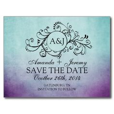 This classy aqua teal turquoise blue and violet lavender purple colored engagement announcement features a beautiful monogram flourish swirls against an vintage inspired grunge shabby chic background. Elegant text is completely customizable so you can use this for other events such as bridal shower, wedding shower, vow renewal, 50th wedding anniversary, and engagement party invitations. Look in my shop for matching products to go with this stylish stationery set!