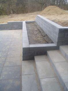 Retaining Wall Construction, Diy Retaining Wall, Backyard Retaining Walls, Retaining Wall Design, Concrete Retaining Walls, Cement Patio, Gravel Patio, Tiered Garden, Garden Stairs