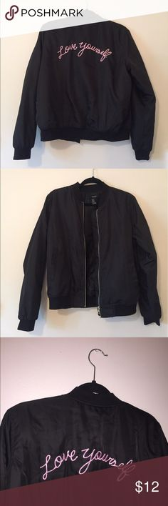 Embroidered Black Bomber Jacket Simple black bomber jacket in mint condition only worn a couple of times. No stains or damage. Had too many bomber jackets and decided to get rid of one. Forever 21 Jackets & Coats