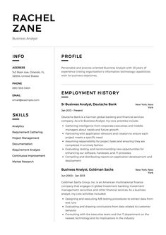 Business Analyst Resume Sample Template Example CV Formal Design Project