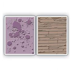 """Sizzix 658726 - Папки за релеф """"Ink Splats & Wood Planks Set"""""""