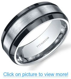 Beveled edge Black and Silver tone Mens 8mm Titanium Wedding Band Ring Sizes 8 to 13 #Beveled #edge #Black #Silver #tone #Mens #8mm #Titanium #Wedding #Band #Ring #Sizes