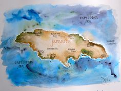 Jamaica...Just the outline of the island and a heart where Ochos Rios is....
