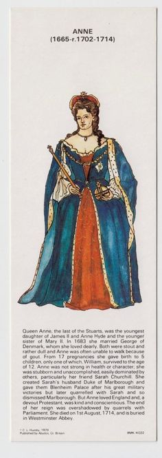 BOOKMARK - Kings & Queens of England, Queen Anne, C L Humby 1979 | eBay