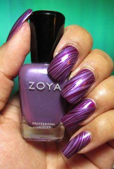 My Simple Little Pleasures, 2/15/13: NOTD: Purple Stripes Water Marble + Tutorial