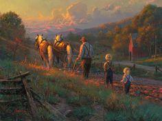 Sowin' Love by Mark Keathley ~ horses plowing field farmer children country farm sundown