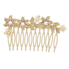 Lux Accessories Faux Pearl Pave Flower Floral Bridal Bride Wedding Hair Comb * More info could be found at the image url. (This is an affiliate link and I receive a commission for the sales)