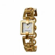1700358 Γυναικείο ρολόι quartz της TOMMY HILFIGER τετράγωνο με επίχρυσο  μπρασελέ και λευκό καντράν  5e2233b4244
