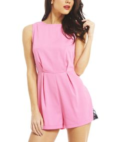 Another great find on #zulily! AX Paris Pink & Black Lace-Inset Romper by AX Paris #zulilyfinds