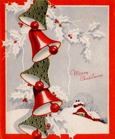 Vintage Christmas Bells Card ~ LÁMINAS VINTAGE,ANTIGUAS,RETRO Y POR EL ESTILO.... (pág. 800) | Aprender manualidades es facilisimo.com