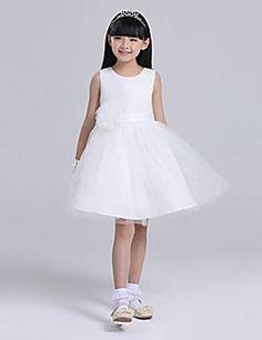 3770ebcd47f1b3 A-line Knee-length Flower Girl Dress - Satin Tulle Sleeveless
