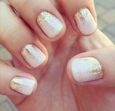 Simple but effective beautiful fairy dust nails. White  gold.