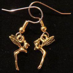 Tinkerbell Earrings 24 Karat Gold Plate Tiny Disney Fairy Fairies Fantasy EG195 by NostalgicCharm on Etsy