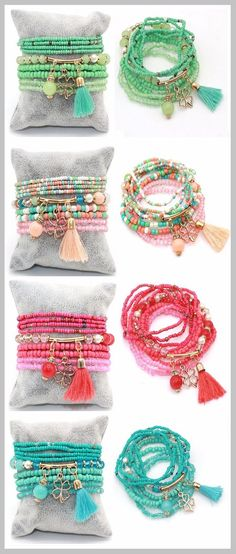 Multilayer Seed Beads with Tassel Clover Charms Bracelet – Bracelets – Maria Susan Mehrschichtige Rocailles mit Quaste Klee Charms Armband Seed Bead Bracelets, Seed Beads, Bracelet Charms, Tassel Bracelet, Gold Bracelets, Stretch Bracelets, Diy Beaded Bracelets, Hippie Bracelets, Embroidery Bracelets