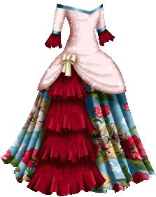 Masquerade Gown with Sparkly Pink Bodice, Red Velvet Trim and Blue Flowered Skirt with Cream Ribbon Masquerade Gown, Masquerade Costumes, Paper Fashion, Fashion Art, Flower Skirt, Dress Drawing, Vintage Paper Dolls, Fabric Dolls, Dress Patterns