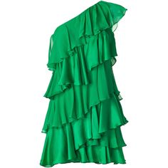 HALSTON HERITAGE Grass Green One-Shoulder Tiered Silk Dress ($277) ❤ liked on Polyvore