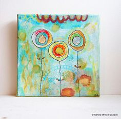 Mixedmedia flower painting cherry melon caramel by heavensearth, $75.00