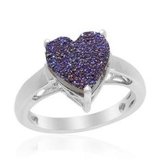 Drusy Titanium Purple (Hrt) Solitaire Ring in Platinum Overlay Sterling Silver (Size O) 1.830 Ct.