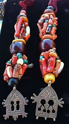 Antique Berber Ritual Headdress Coral Amber Earrings
