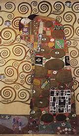 Fulfilment Gustav Klimt--cartoon for a section of the Stoclet Frieze (Tree of Life.) 1905-9. Tempura, watercolour, gold paint, silver bronze. chalk, pencil and white paint on paper. 194 x 121 cm, Osterreichisches Museum fur Angewandte Kurst, Vienna.